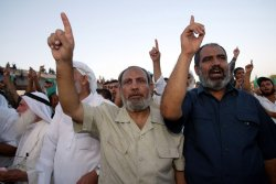 RALLY OF HAMAS IN THE RUBBLE OF THE EX-SETTLEMENT OF NEVE DEKALIM
