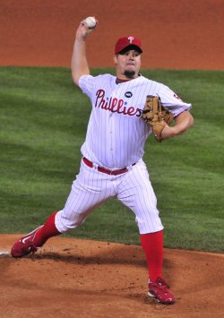 Phillies Joe Blanton pitches during game 4 of the world series in Philadelphia