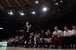 Louisville Cardinals head coach Rick Pitino at the NCAA Big East Men's Basketball Championships in New York