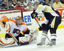 Flyers Bobrovsky Makes Save on Pens Letestu in Pittsburgh