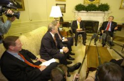 PRESIDENT BUSH MEETS WITH BIG THREE AUTOMOTIVE EXECUTIVES