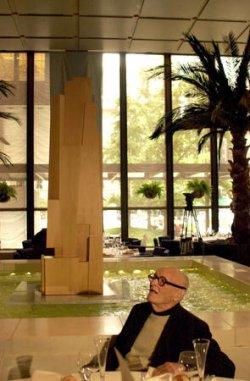 ARCHITECT PHILIP JOHNSON UNVEILS NEW BUILDING PROJECT