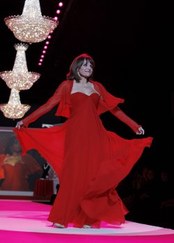 Valerie Harper walks the runway at the The Heart Truth's Red Dress Collection at Mercedes-Benz Fashion Week in New York