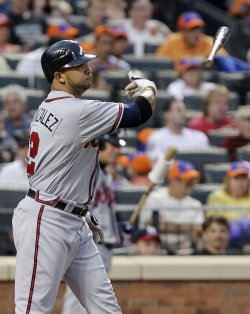 Atlanta Braves Alex Gonzalez reacts after striking out at Citi Field in New York