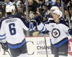 Jets Tim Stapleton Celebrates his Goal in Pittsburgh