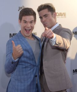 "Adam Devine and Zac Efron attend the ""Mike and Dave Need Wedding Dates"" premiere in Los Angeles"