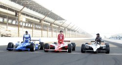 Front Row Drivers Pose for Official Photos at the Indianapolis Motor Speedway, in Indianapolis, Indiana.