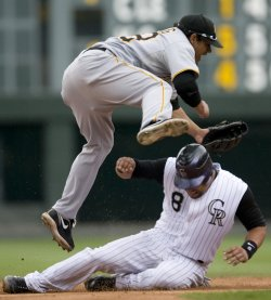 Rockies Torrealba Breaks Up Double Play Against Pirates Cedeno in Denver
