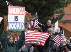 Westboro Baptist Church members protest military funeral in Port Orchard, Washington.