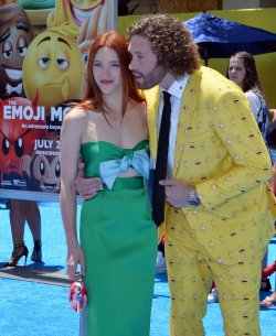 """T.J. Miller and Kate Gorney attend """"The Emoji Movie"""" premiere in Los Angeles"""
