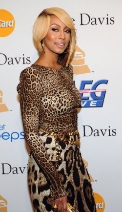 Keri Hilson arrives at pre-Grammy gala honoring David Geffen in Beverly Hills, California