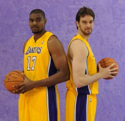 Andrew Bynum and Pau Gasol participate in Lakers' media day in El Segundo, California