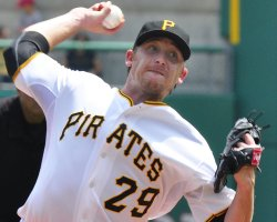 Pirates starting pitcher Kevin Correia in Pittsburgh