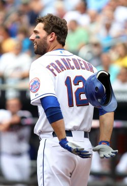 New York Mets Jeff Francoeur reacts at Citi Field in New York