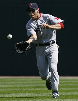 Boston Red Sox center fielder Jacoby Ellsbury fields a ball against the Chicago White Sox in Chicago