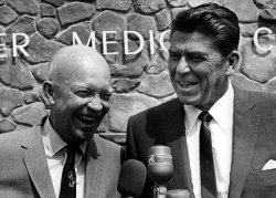 Governor Ronald Reagan is seen here in 1967 having a laugh with former President Dwight Eisenhower.