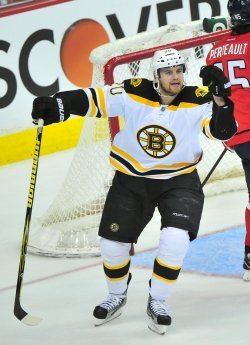 Boston Bruins Daniel Paille celebrates in Washington