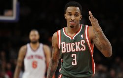 Milwaukee Bucks Brandon Jennings reacts at Madison Square Garden in New York