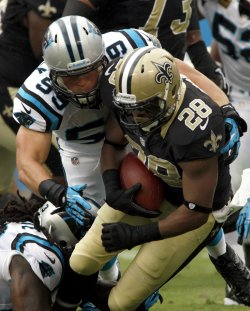 New Orleans Saints running back Mark Ingram in action against the Carolina Panthers
