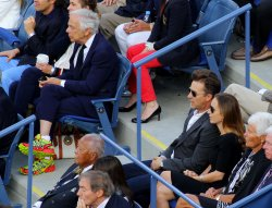 Edward Norton, Shauna Robertson and Ralph Lauren attend the men's final match at the U.S. Open in New York