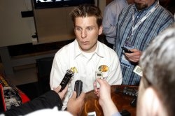 Jamie McMurray at NASCAR media tour event in Charlotte, North Carolina