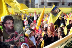 Hezbollah leader Hassan Nasrallah addresses his followers on the eighth anniversary of the Israeli withdrawal.