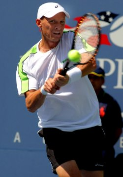 Mardy Fish takes on Nikolay Davydenko in second-round action at the U.S. Open in New York