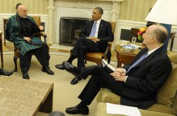 Pres. Obama and Afghan Pres. Hamid Karzai meet in Oval Office in Washington