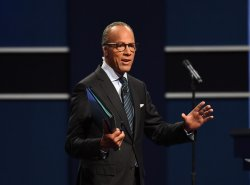 Moderator Lester Holt make comments at first presidential debate at Hofstra University