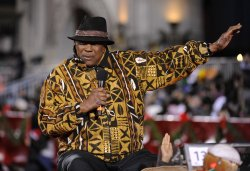 Actor Louis Gossett Jr. rides in the Hollywood Christmas Parade in the Hollywood section of Los Angeles