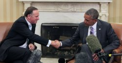Barack Obama meets with Prime Minister of New Zealand in Washington