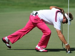 Brian Gay reaches into the cup during the TPC Players in Florida