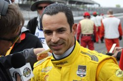 Helio Castroneves bumps his way into pole shoot out for the 98th running of the Indianapolis 500 at the Indianapolis Motor Speedway