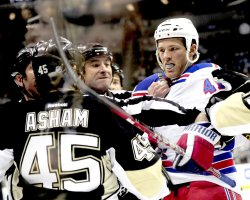 Officals Break up Pens Asham and Rangers Bickel Fight in Pittsburgh