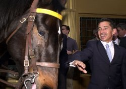 jockey Jose Santos and trainer meet new york press to discuss Funny Cide triple crown possibilites