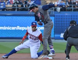 Team USA's Christian Yelich doubles during World Baseball Classic final in Los Angeles