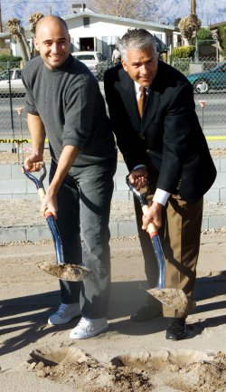 Senator John Ensign and Andre Agassi at ground breaking for the next addition to Andre Agassi College Prepatory School