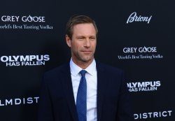 "Aaron Eckhart attends the ""Olympus Has Fallen"" premiere in Los Angeles"