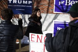 Voters enter polling station in Manchester, New Hampshire