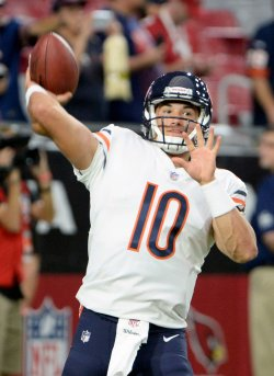 Bears' Trubisky throws a pass