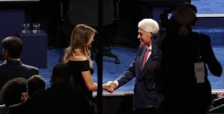Former Pres. Bill Clinton greets Melania Trump during the first Presidential Debate at Hofstra University in New York