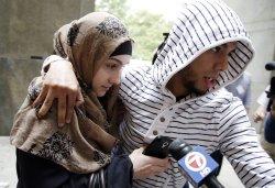 Boston Marathon bombing suspec Ailina Tsarnaeva arrives at Manhattan Court
