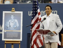 Jimmy Smits speaks during a tribute to tennis great Pancho Gonzales on day 6 at the US Open Tennis Championships in New York