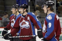 Avalanche Stastny, Hejduk, and Duchene Pause during Warm Ups in Denver