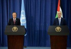 UN Secretary General Ban Ki-moon Press Conference Palestinian Prime Minister Rami Al-Hadallah