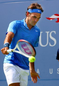 Roger Federer vs Carlos Berlocq at the U.S. Open in New York