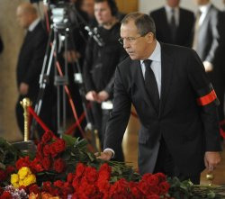 Russian President Medvedev and Prime Minister Putin attend a funeral for former Prime Minister Chernomyrdin