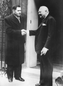 Andrei Gromyko and Winston Churchill outside 10 Downing Street