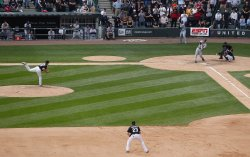 White Sox Thornton throws strike to Indian's Haffner in Chicago