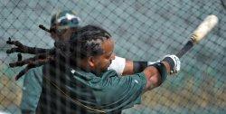 Manny Ramirez of the Oakland Athletics hits the ball in Phoenix, Arizona